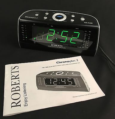 Roberts Chronoplus 2 Clock Radio large easy read display with instructions