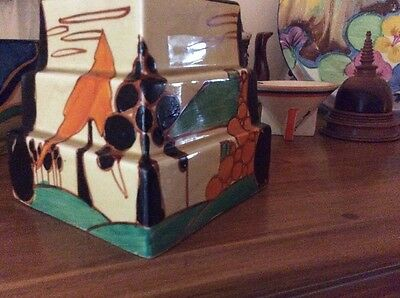 Clarice Cliff Fantasque  Oranges,Cottages And Trees Stepped Ziggurat Shaped 9cms