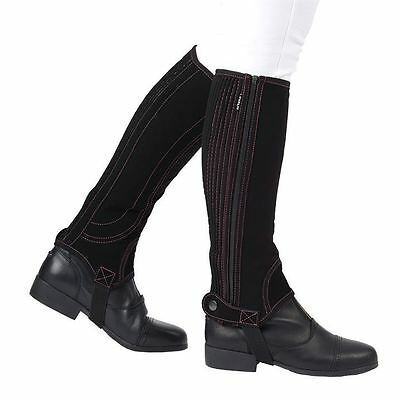 DUBLIN EASY-CARE HALF CHAPS in BLACK WITH PINK STITCHING - ADULT XS