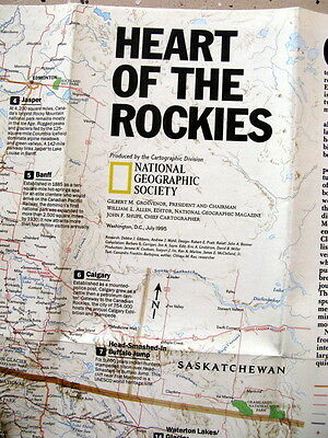 Heart of the Rockies / Above Rockies National Geographic Map / Poster July 1995