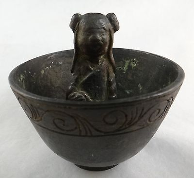 "Chinese Ming Dynasty Bronze Cup. c. 16th c. 3 1/8"" dia. 3"" tall. 12.2 oz."