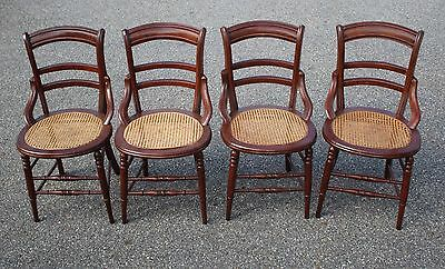 Set Four Antique American Eastlake Side Chairs with Cane Seats, c.1890