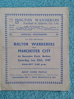 1947 - BOLTON WANDERERS v MANCHESTER CITY PROGRAMME - FA CUP 4TH ROUND