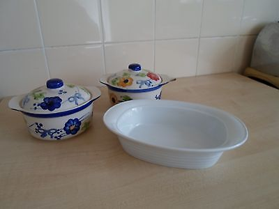 Lot Of 3 Dishes  2 Floral Small Casserole Dishes And A Bowl