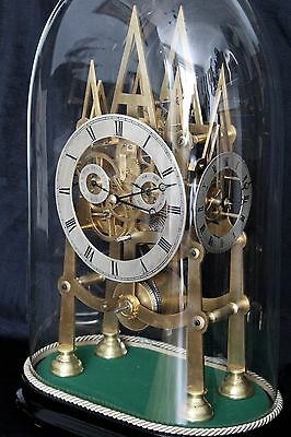 antique fusee skeleton clock three dial calendar two week duration