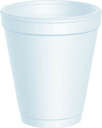 Dart 8J8 Disposable Foam Cup, White, 8 oz (Case of 1000)