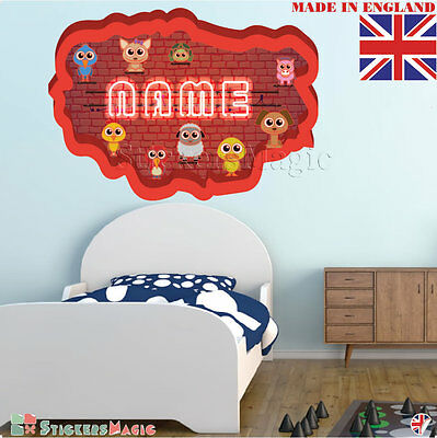 NEON 02 Wall PERSONALISED NAME Children Room Wall Sticker Decal Fabric  Vinyl UK