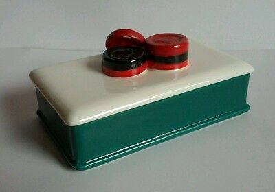 Vintage 1984 Sigma Checkers Game Chips Hand Painted Green + White Storage Box