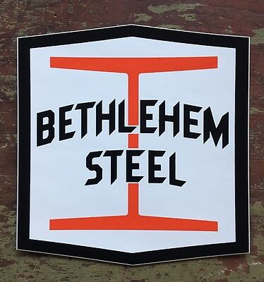 "Rare Large 7"" Vintage Bethlehem Steel I Beam Decal Sticker"