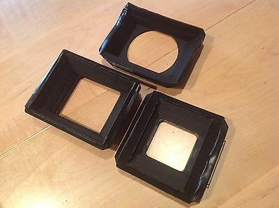 3 Vintage Black Leather Bellows for Replacement Cameras NOS #35