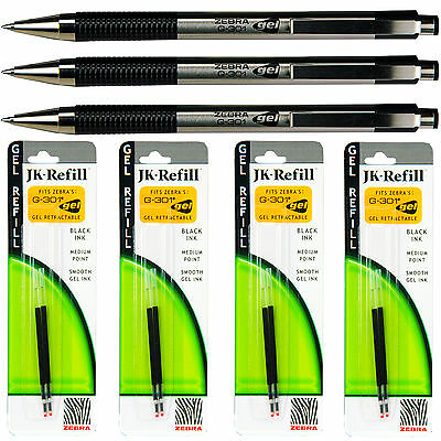 Zebra G301 Gel Pens With Refills, Black Gel Ink, 0.7mm Medium Point, 7-Piece Set