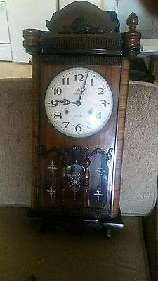 Aikosha 31 Day Chiming Wall Clock, comes with Pendulum and Key. Vintage