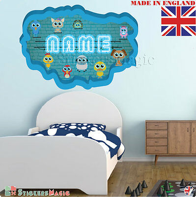 NEON 10 Wall PERSONALISED NAME Children Room Wall Sticker Decal Fabric  Vinyl UK