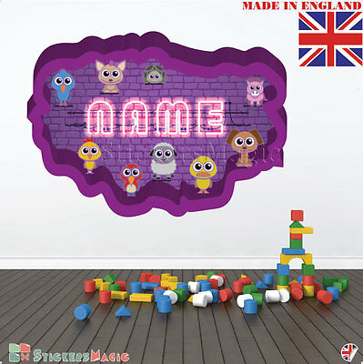 NEON 12 Wall PERSONALISED NAME Children Room Wall Sticker Decal Fabric  Vinyl UK