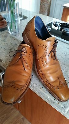 Men's TAN Brown LEATHER Lace Up BROGUE Shoes BARKER England UK 11 F