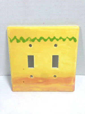 Light  Wall Switch Plate  2 Toggle Hand Painted Porcelain Yellow Green & Red