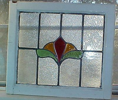 """OLD ENGLISH LEADED STAINED GLASS WINDOW Floral 21"""" x 18.5"""""""
