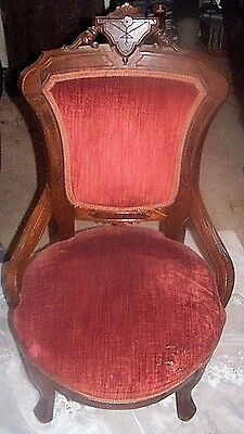 Victorian  Eastlake Parlor Chair ( Wood In Great Condition) See Photos