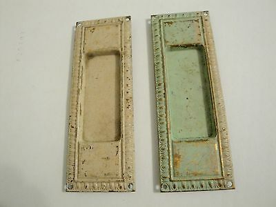 Pair Vintage Antique Victorian Brass Pocket Sliding Door Hardware Pull Handle