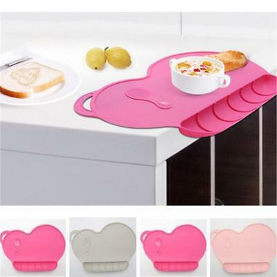 Kids Cute Silicone Happy Mat Baby Suction Table Food Tray Placemat Plate Bowl LA