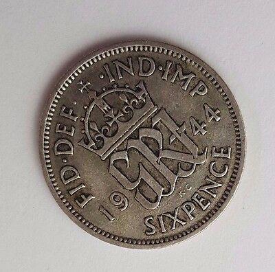 Dated : 1944 - Silver - Sixpence / 6d - Coin - King George VI - Great Britain
