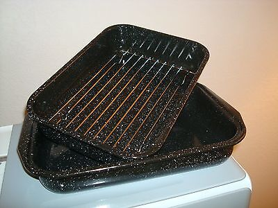 Graniteware 3-Piece Roasting Pan 9 x 13 Black Speckled Excellent Condition