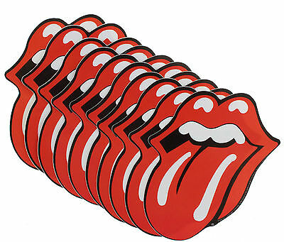 10 x Rolling Stones Tongue Logo Cut Out Vinyl Sticker's New Official Band Merch