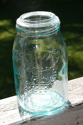 Antique Crown Imperial  Pint Fruit Canning Jar Green / Blue Color no lid