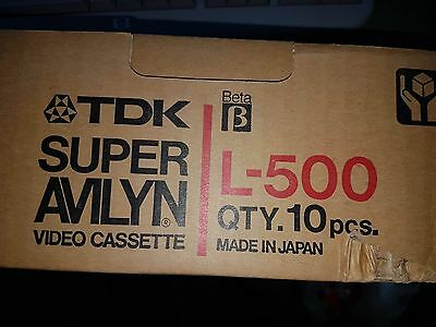 L-500, BETA Video Tapes, By TDK (Super Avilyn) Made in Japan - box of 10 tape
