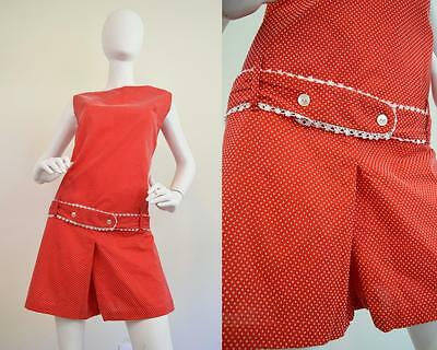 Vtg Red White Dotted Swiss Playsuit Jumpsuit Romper Scooter Go Go Shorts Mod M/L