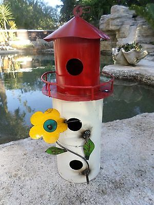 Recycled Rustic Distress Metal Yard Garden Art Nautical Lighthouse Birdhouse