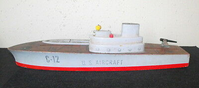 Vintage Wooden Keystone Aircraft Carrier Toy Ship C-12 1940s