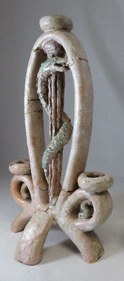 Antique 1880 German Apothecary snake sign candle holder chandelier terracotta