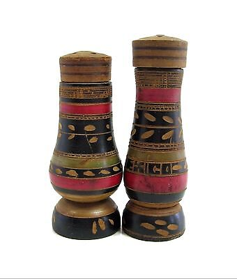 """BLACK & RED WOOD Carved Salt and Pepper Shakers Set Vintage Mexico 3 1/2"""" Tall"""