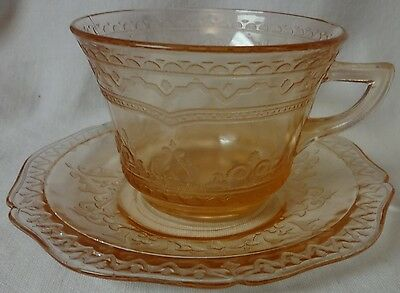 Patrician Pink Cup & Saucer Set of 2 Federal Glass Company