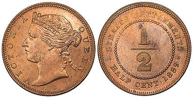 STRAITS SETTLEMENTS. Victoria. 1889 AE 1/2 Cent. NGC MS65RB. KM 15.