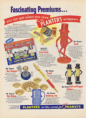 1954 Planters Peanuts PREMIUMS Ad BANK Cup NUT DISHES Salt & Pepper PAINT BOOK