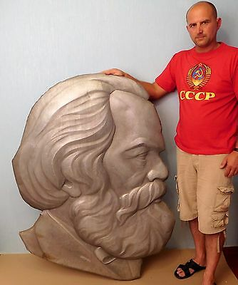 Original Soviet Russian  USSR Very Big Metal Bas-relief of Karl Marx 70s