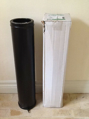 Black stainless steel insulated flue pipe (1m x 150mm)