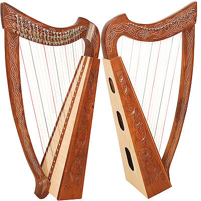 22 String Harp Quality Rosewood Celtic & Engraved With Free Bag +Tuning Key
