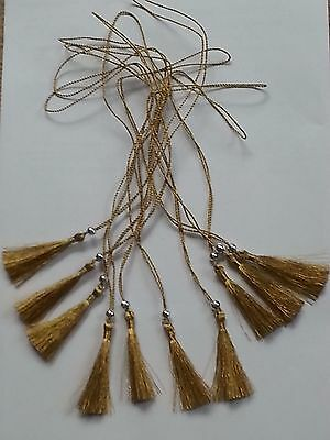 Gold Tassels x 10 for menus, order of service, invitations, crafts - 28cm