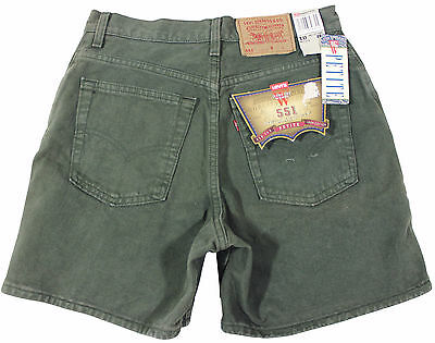 VTG 90s LEVIS 551 Relaxed Fit JEAN SHORTS High Waist 10 Petite Green Made In USA