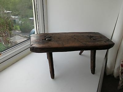 Antique Welsh low figured elm and ash stool - late 18th/early 19th Century