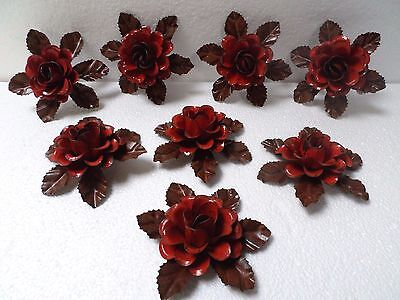 "8 Lot Mexican Rustic Distress Metal Tin Yard Art 4"" Red Rose Flower Vintage Look"