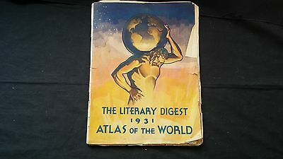 Antique 1931 Literary Digest ATLAS OF THE WORLD with Original Mailer - Hammond