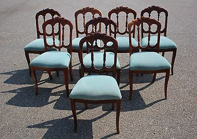 Set of Eight Late Victorian Campaign Dining Chairs - Mahogany & Blue Velvet