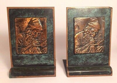 Antique Judaica Boris Schatz Bezalel?  PAIR OF BOOKENDS  copper plaque