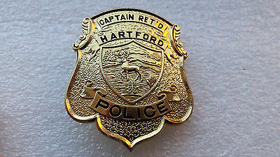 Obsolete Hartford Connecticut Police Captain Retired Badge Shield