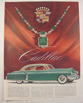 1949 Cadillac Print Print Ad Alexander II EMERALD Necklace by CARTIER