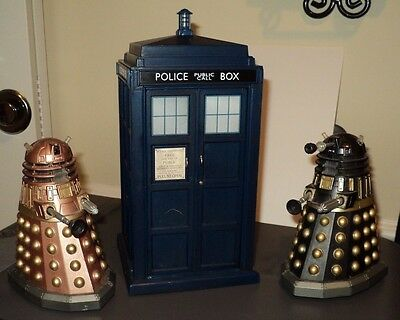 DR. WHO TOYS Tardis (1963) & 2 Daleks (1968) Police Box has Time Travel Sounds